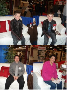 Home show visitors enjoying sitting on NextStage cardboard furniture