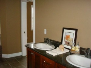 A staged bathroom